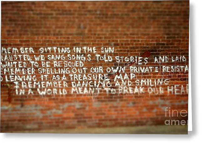 Justin Moore Greeting Cards - Words in the Alley Greeting Card by Justin Moore