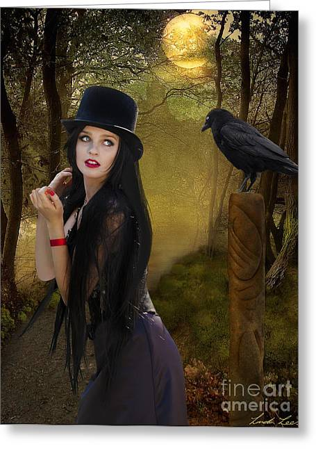 Lindalees Greeting Cards - Words of the Crow Greeting Card by Linda Lees