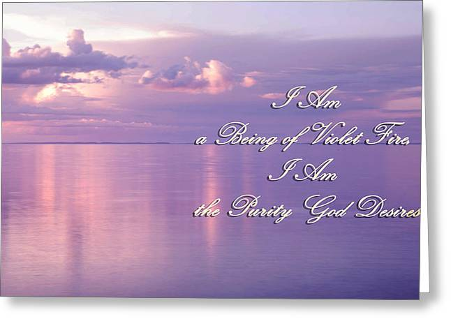 Living Beings Greeting Cards - Words of Violet Fire Mantra Greeting Card by Jenny Rainbow