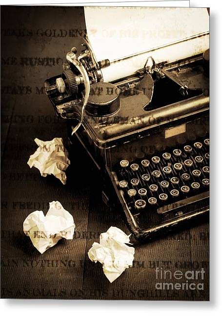Typewriter Keys Photographs Greeting Cards - Words Punched On To Paper Greeting Card by Edward Fielding