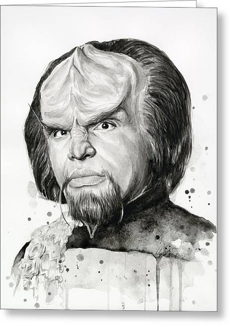 Science Fiction Greeting Cards - Worf Portrait Watercolor Star Trek Art Greeting Card by Olga Shvartsur
