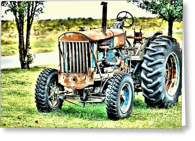 Farm Greeting Cards - Work A Holic Tractor Art Greeting Card by Lesa Fine