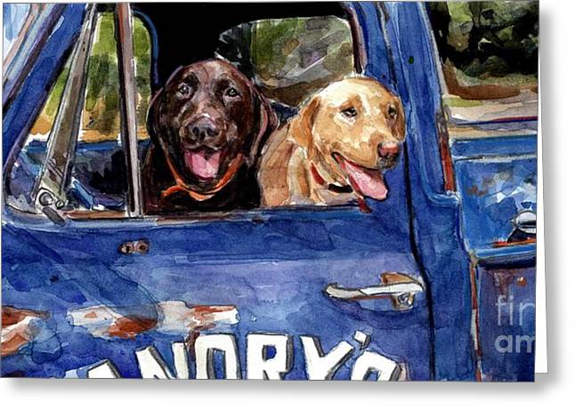 Chocolate Lab Greeting Cards - Work and Play Greeting Card by Molly Poole
