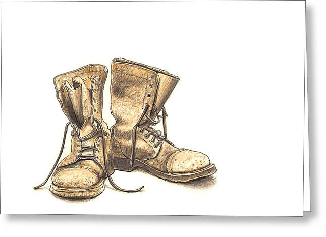 Manufacturing Drawings Greeting Cards - Work Boots Number One Greeting Card by Peter  McEwan