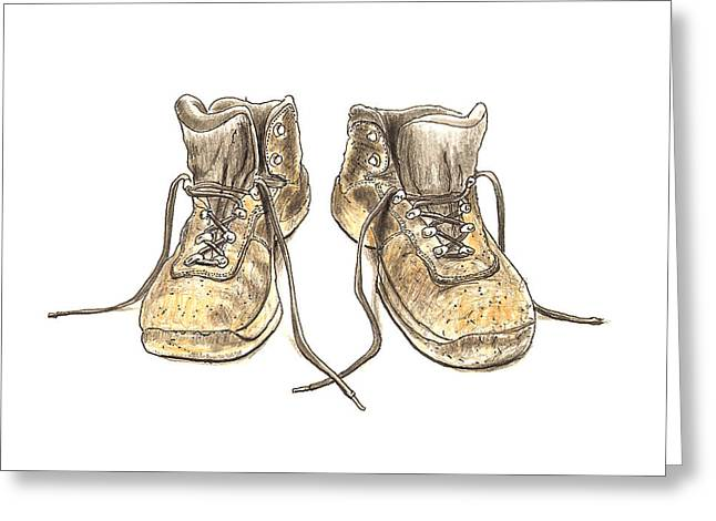 Manufacturing Drawings Greeting Cards - Work Boots Number Three Greeting Card by Peter  McEwan