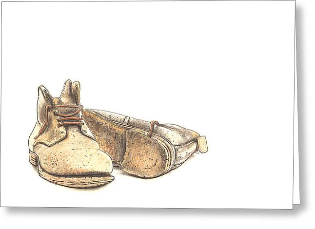 Manufacturing Drawings Greeting Cards - Work Boots Number Two Greeting Card by Peter  McEwan