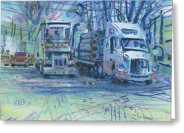 Truck Drawings Greeting Cards - Work Buddies Greeting Card by Donald Maier
