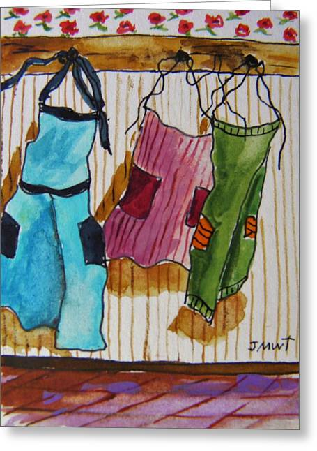 Aceo Original Drawings Greeting Cards - Work Clothes Greeting Card by John  Williams