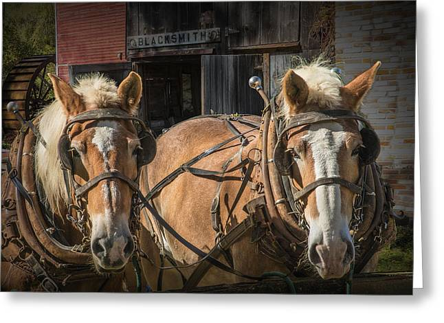 Equine Art Work Greeting Cards - Work Horses waiting by a Blacksmith Shop Greeting Card by Randall Nyhof