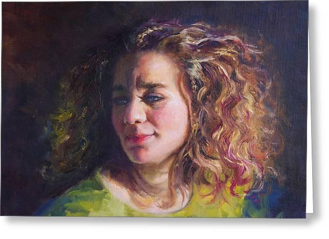 Work in Progress - Self Portrait Greeting Card by Talya Johnson