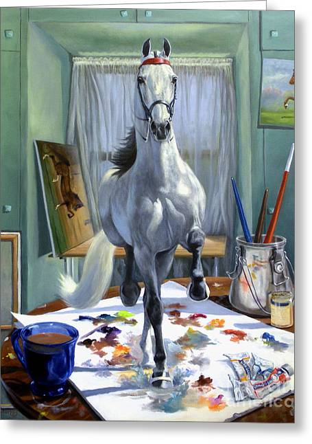 Horses Paintings Greeting Cards - Work In Progress V Greeting Card by Jeanne Newton Schoborg