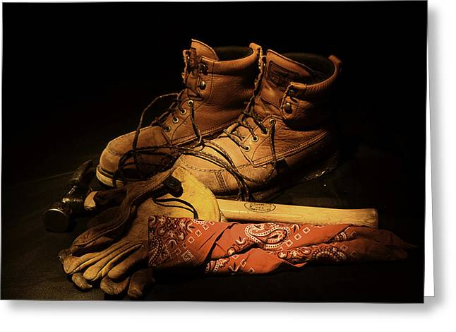 Boots Pyrography Greeting Cards - Work Greeting Card by Max Martin