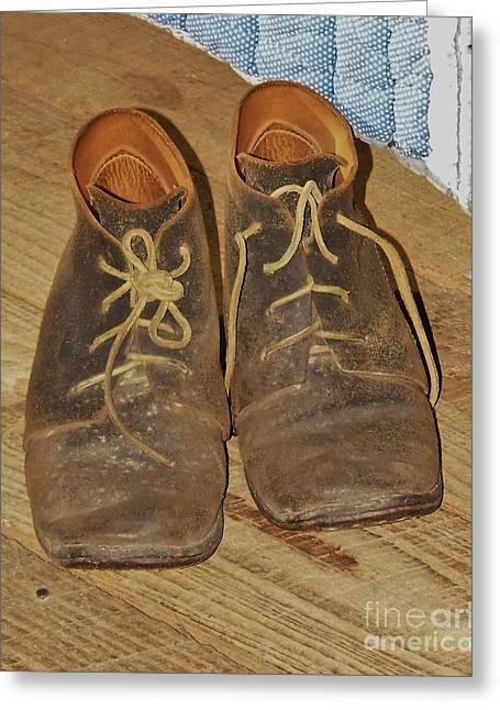 Shoe String Greeting Cards - Work Shoes Greeting Card by D Hackett