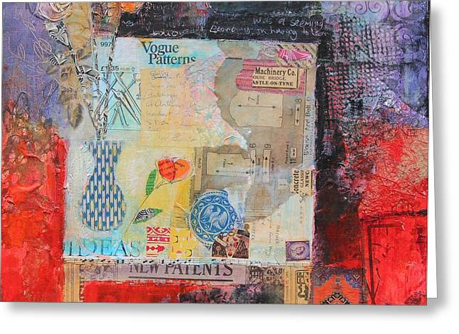 Table Greeting Cards - Work Table 2014, Acrylicpaper Coillage Greeting Card by Sylvia Paul