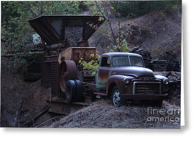 Mills Pyrography Greeting Cards - Work Truck Greeting Card by David Rasmussen