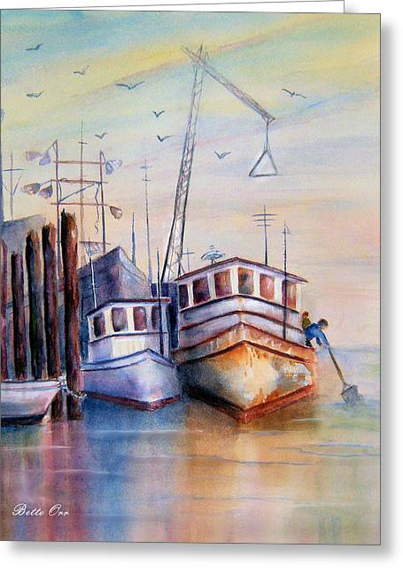 Md Paintings Greeting Cards - Workboats at Rest Greeting Card by Bette Orr