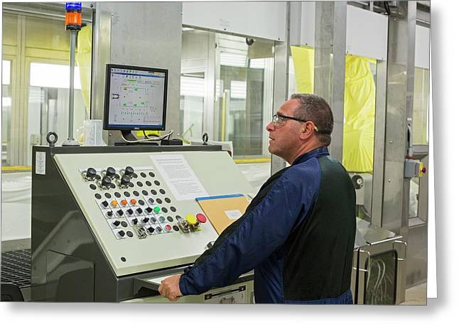 Worker At Car Assembly Line Control Panel Greeting Card by Jim West