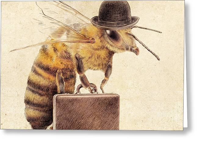 Stripe Drawings Greeting Cards - Worker Bee Greeting Card by Eric Fan
