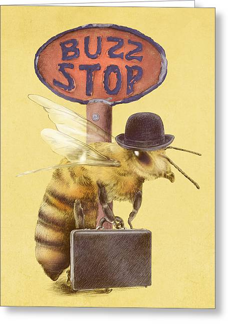 Bus Stop Greeting Cards - Worker Bee yellow option Greeting Card by Eric Fan