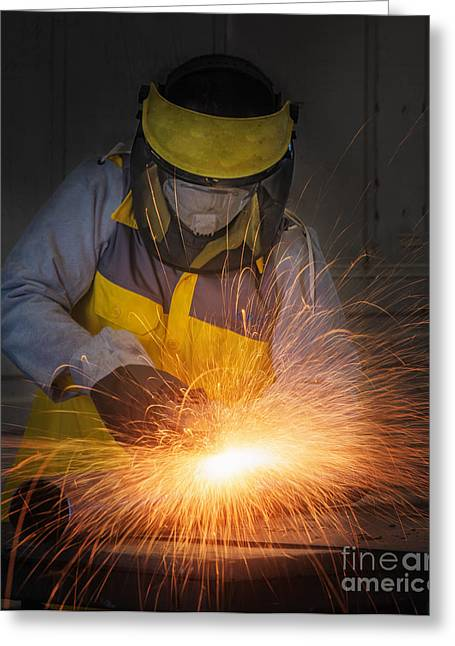 Circular Saw Greeting Cards - Worker hard work Electric wheel grinding on steel structure  Greeting Card by Anek Suwannaphoom