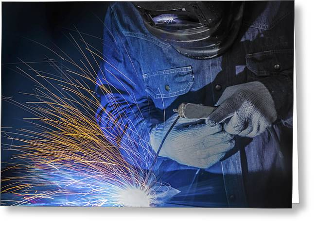 Metal Skill Greeting Cards - Worker welding Greeting Card by Anek Suwannaphoom