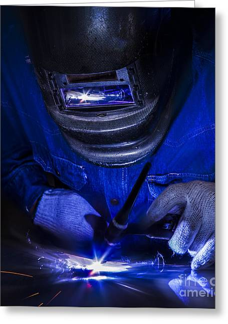 Metal Skill Greeting Cards - Worker welding the steel part Greeting Card by Anek Suwannaphoom