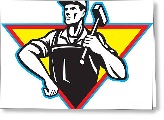 Factory Workers Greeting Cards - Worker With Hammer Retro Greeting Card by Aloysius Patrimonio