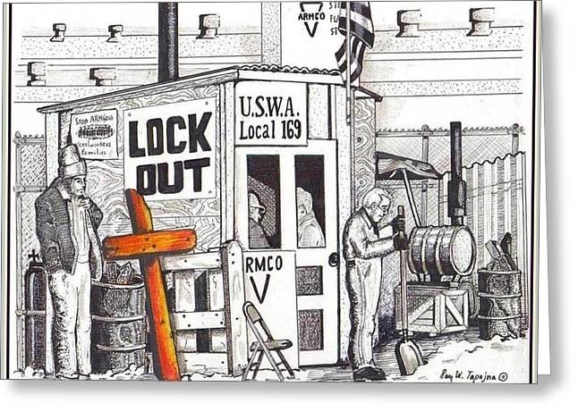 Editorial Drawings Greeting Cards - Workers Bear Their Cross  Greeting Card by Ray Tapajna