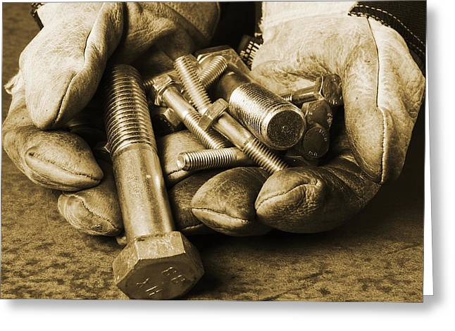 Leather Gloves Greeting Cards - Workers Gloves Nuts And Bolts Greeting Card by Christian Lagereek