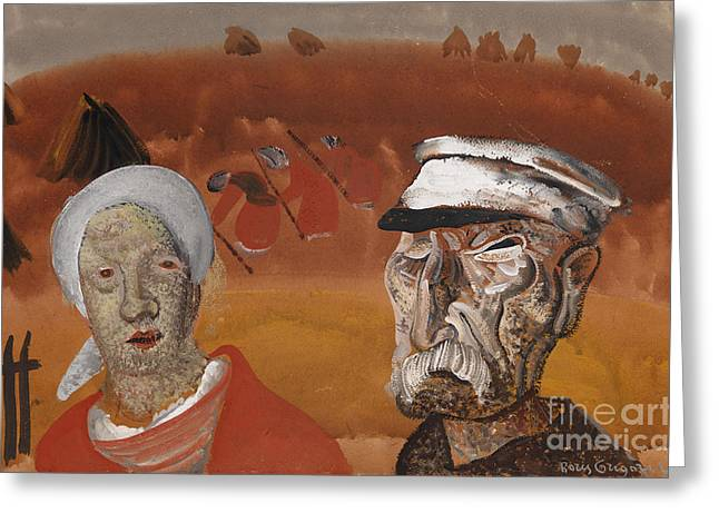 Strength Paintings Greeting Cards - Workers in the Fields Greeting Card by Celestial Images