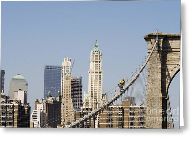 Terrorism Greeting Cards - Workers on Brooklyn Bridge in Manhattan Greeting Card by Patricia Hofmeester
