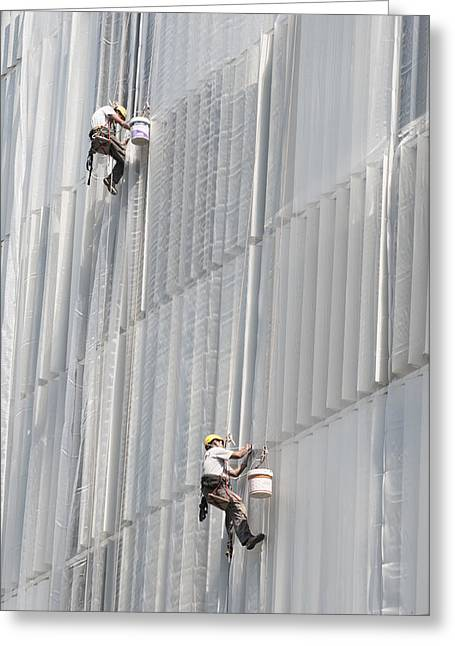 At Work Greeting Cards - Workers on facade of building Greeting Card by Matthias Hauser