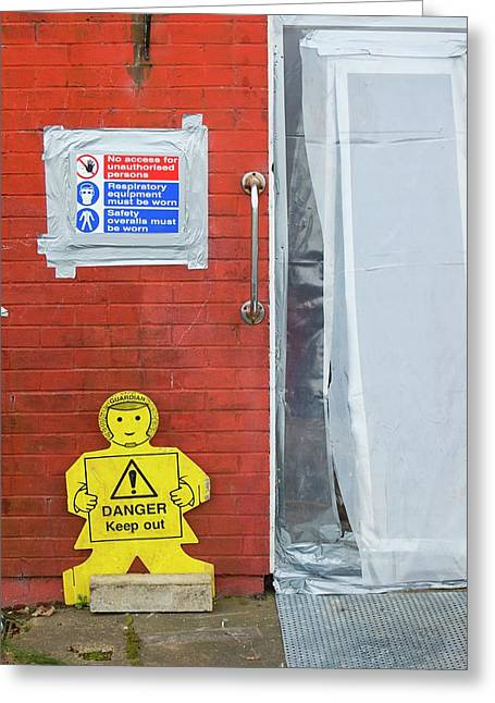 Workers Removing Asbestos Greeting Card by Ashley Cooper