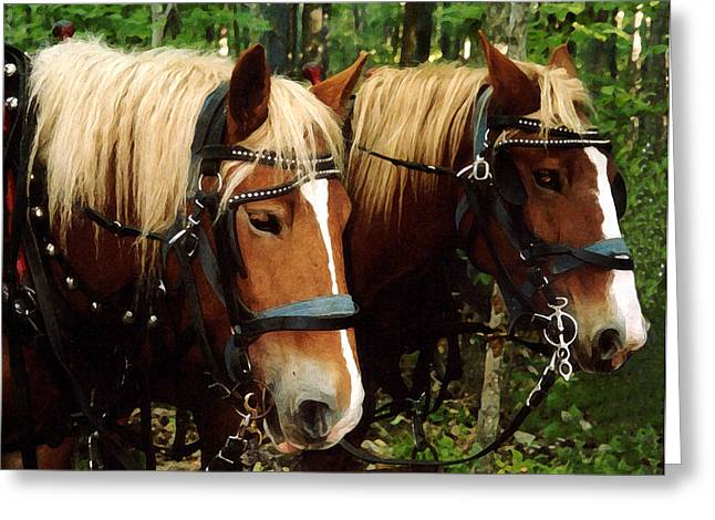 Equine Art Work Greeting Cards - Workers Greeting Card by Susan Crossman Buscho
