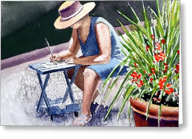 Working Artist Greeting Card by Irina Sztukowski