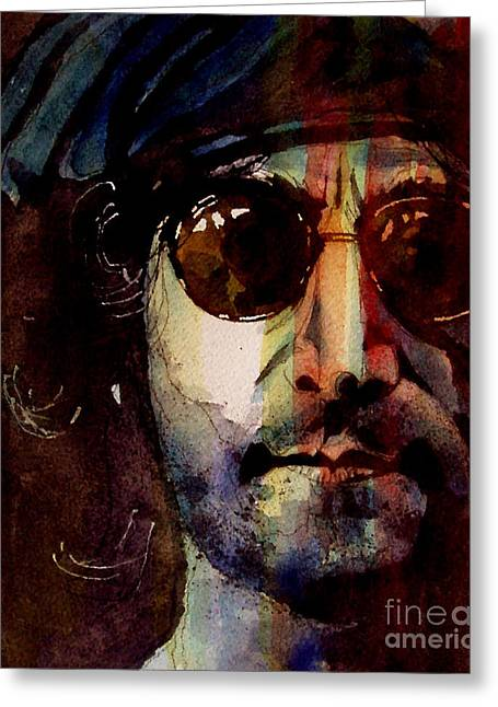 John Lennon Portrait Greeting Cards - Working Class Hero Greeting Card by Paul Lovering