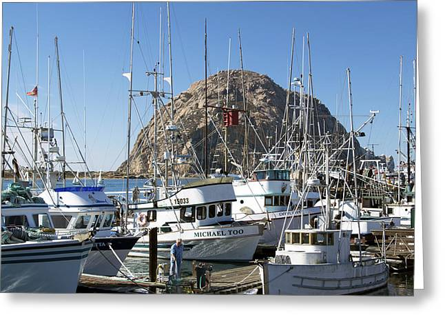 Boats At Dock Greeting Cards - Working Dock At Morro Bay 2 Greeting Card by Barbara Snyder