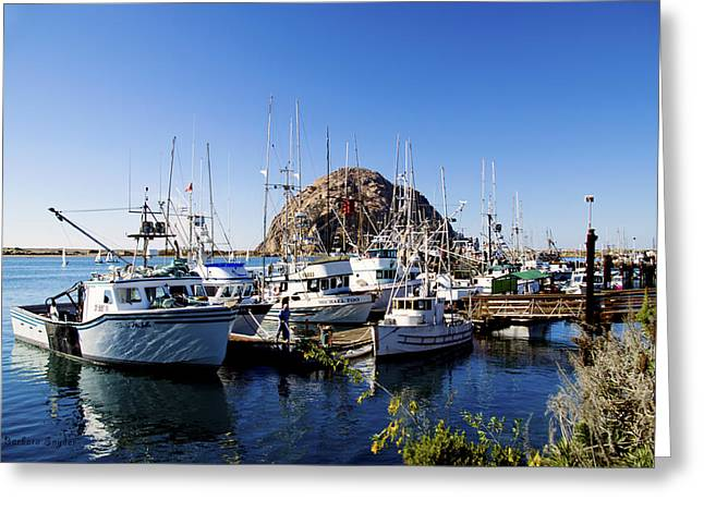 Boats At Dock Greeting Cards - Working Dock At Morro Bay Greeting Card by Barbara Snyder