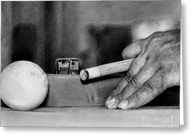 Artist Working Photo Drawings Greeting Cards - Working Hands - Billiard Hands Greeting Card by Anthony Wilson