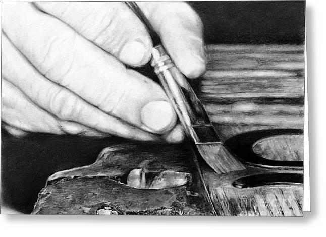 Artist Working Photo Drawings Greeting Cards - Working Hands - Brushing Hands Greeting Card by Anthony Wilson