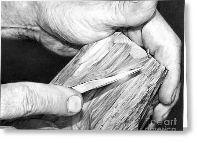 Artist Working Photo Drawings Greeting Cards - Working Hands - Carving Hands Greeting Card by Anthony Wilson