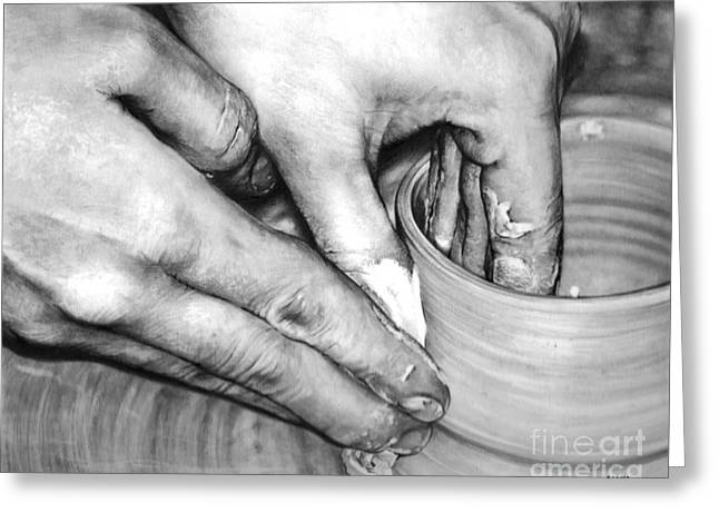 Artist Working Photo Drawings Greeting Cards - Working Hands - Pottery Hands Greeting Card by Anthony Wilson