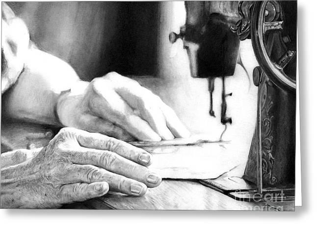 Artist Working Photo Drawings Greeting Cards - Working Hands - Sewing hands Greeting Card by Anthony Wilson