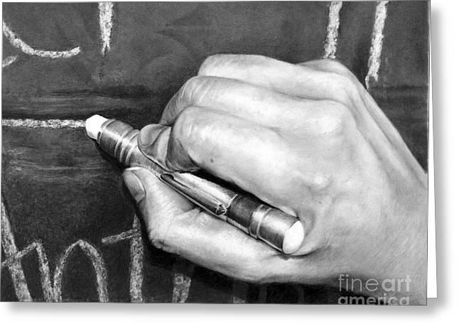 Artist Working Photo Drawings Greeting Cards - Working Hands - Teaching Hands Greeting Card by Anthony Wilson