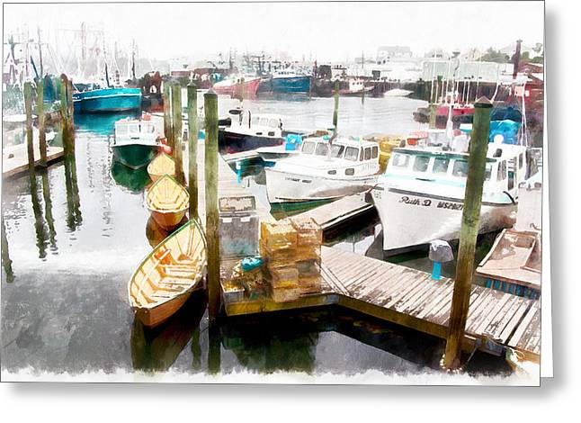 Tall Ship Greeting Cards - Working harbor in Gloucester MA Greeting Card by Jeff Folger