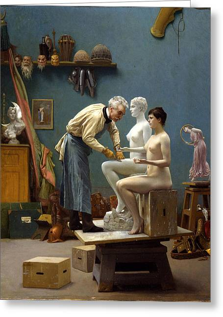 Gerome Greeting Cards - Working in Marble. The Artist Sculpting Tanagra Greeting Card by Jean-Leon Gerome
