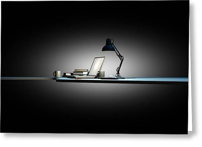 Night Lamp Greeting Cards - Working late, conceptual artwork Greeting Card by Science Photo Library