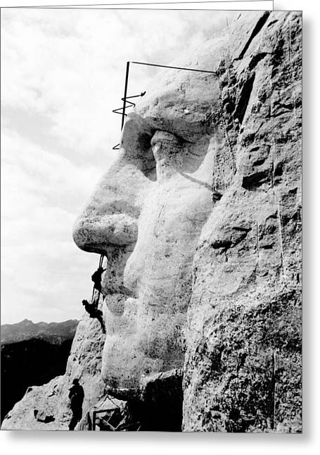 Borglum Greeting Cards - Working on Mount Rushmore Greeting Card by Science Photo Library