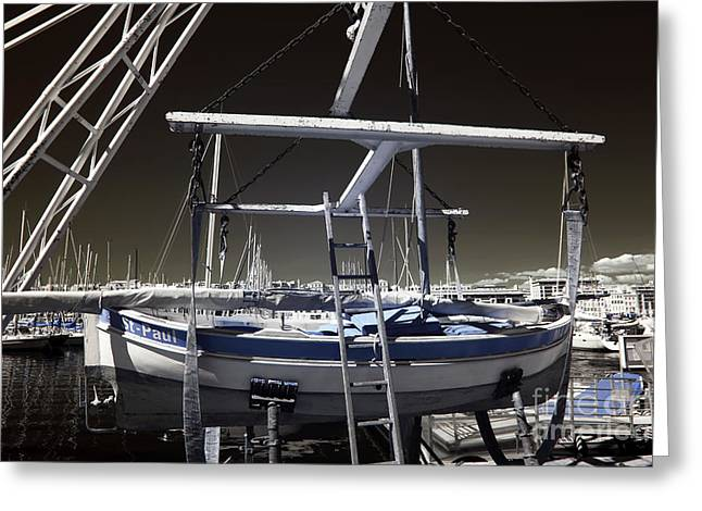 Working on the Boat Greeting Card by John Rizzuto