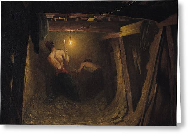 Digging Greeting Cards - Working On The Metro Under The Place De Letoile, 1899 Oil On Canvas Greeting Card by Gaston Brun